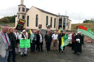 Protesters at Kirkcaldy Central Mosque.