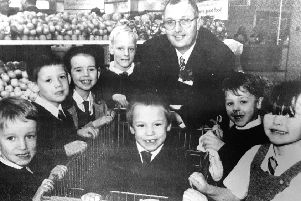 Kids from Kirkcaldy schools open Sainsbury's in 1997.
