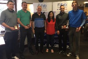 Pictured are: Gary Keddie, Colin Paterson, Dave Foster, Tu Edwards, Kevin Luke and Chris McNab.  They were all involved in the Gillian Parsons Memorial Golf Day.