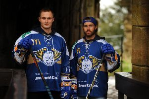 Defending the fort: Fife Flyers D-men Michal Gutwald and Scott Aarssen at Ravenscraig Castle ahead of the match against Glasgow Clan this Saturday.  Pic: Fife Photo Agency