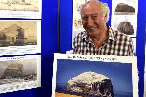 Ian Archibald promoting the exhibition. Pic:   Fife Photo Agency.