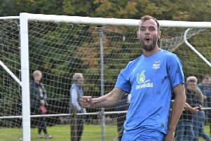 Paul Ferrier celebrates scoring during Kennoway's 4-0 away win over Lochore Welfare.