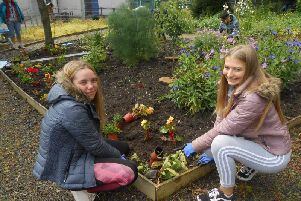 Mintlaw pupils work on the therapeutic garden at the academy, which was cited as an example of best practice