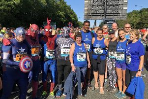 A collection of superheroes assemble at the start line of the Great North Run on Sunday, raising cash for the Friends of the Borders General Hospital.