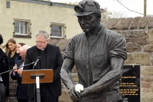 Auchengeich Mining Memorial - Annual Service - Father Michael Briody saying a pray'14th September 2014