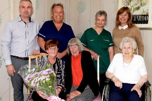 Care staff member Sandra Jarvie retired from Elizabeth House after 18 and a half years recently. from left (rear): Sam Boyd, manger, Nicola Adams, Maureen Falkner, Carol Ross, owner. Front from left: Sandra Jarvie, Anne Millar and Margaret Laird. Pic: George McLuskie.