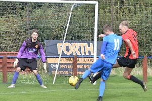 Liam Newton opening the scoring for Kennoway.
