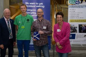 Falkirk Active Travel Hub representatives Clement McGeown and Ray Burr with Minister for Public Health, Sport and Wellbeing, Joe FitzPatrick MSP and BBC Scotland presenter Fiona Stalker