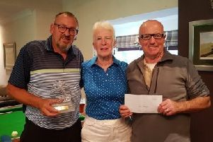Winners Jim Will, Judith Harris and Mike McLean.