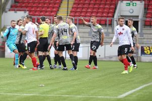 Stranraer were angry at a number of referee Craig Napier's decisions (pic: Craig Black Photography)