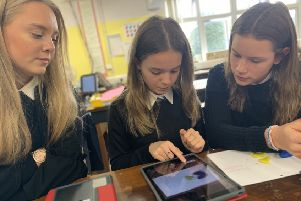 Pupils at Selkirk High School with their new iPads.
