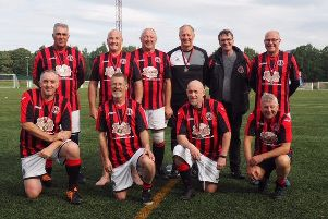 Gala Fairydean Rovers, back, from left, John Dodds, Jim Waters, Ross Buchan, John Dickson, Mike Godsman. Front row Howard Edge, Martin Edmunds, John Hislop, Dave Dewhirst (picture by Rowan Stanforth).