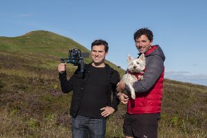 Filmmaker Gavin Hugh with Ross Cunningham, from Glenrothes, and dog Dex.
