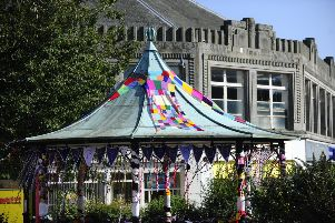 Falkirk Town Centre gets yarn bombed for launch of arts festival. Picture by Alan Murray.
