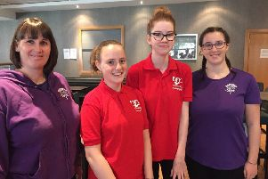 Pictured, from left to right. Lynn Harper, Head Coach Synchro Caledonia 13-15 Squad; Molly Sands, Eva Williamson, Rachel Harper, Assistant Coach, 13-15 squad. Picture taken at Synchro Caledonia training camp