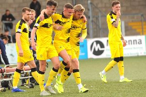 Lewis Vaughan is helped from the pitch in Forfar on Saturday. Pic: Fife Photo Agency