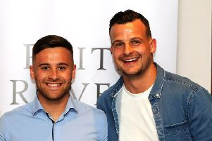 Raith Rovers captain Kyle Benedictus (right) with Lewis Vaughan -  credit- Fife Photo Agency