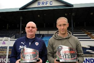Manager of the Month John McGlynn, with Player of the Month Steven Anderson (All pics by Fife Photo Agency)