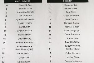 Team line-ups for today at Stark's Park