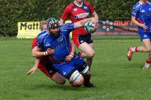 Jacob Ramsay scores for Kirkcaldy RFC against Newton Stewart earlier this season. (Photo by Michael Booth)