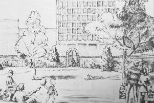 Volunteers Green, Kirkcaldy - drawing from 1973 by campaign groups which prevented the Town Council from building a multi-storey car park on the green space., The drawing shows their aims for the historic space.