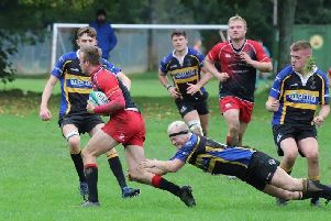 Hawick Quins powered to a comfortable win over Duns, in red (picture by James Sel Messer)