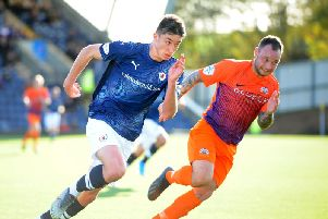 Kieron Bowie gave the Glenavon defence a torrid time on Saturday. Pic: Fife Photo Agency