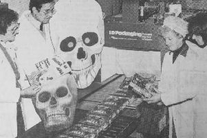 The 1982 launch of Skullcrushers at Alma Confectionery