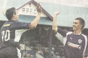 Andy Tod (left) and Derek Carcary were both on the scoresheet the last time Raith Rovers travelled to Broadwood for a competitive match.