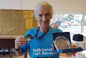 Bill Duff, who celebrated running his 100th race of the year by winning the M70 category at Last Duels Trail Race.