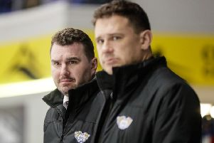 Fife Flyers coaches,  Jeff Hutchins (left) and Todd Dutiaume  (Pic: Scott Wiggins)