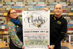 Gail Cadogan of My Cherry Pie promoting the Merchants' Quarter Christmas Festival  with Dean Penman of MQ Coffee Shop. Pic: WALTER NEILSON