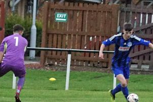 Reece Brown bags one of the consolation goals for Burntisland Shipyard in Saturday's defeat to Inverkeithing. Pic: Burntisland Shipyard