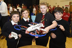 The winning team from Glenrothes High at the Raytheon's fifth annual Quadcopter Challenge