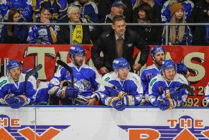 Todd Dutiaume, Fife Flyers head coach, on the bench  (Pic: Jillian McFarlane)