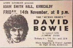 The FFP advert for David Bowie's gig at the Adam Smith Theatre in 1969.