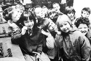 Kirkcaldy West pupils at Kirkcaldy's telephone exchange in 1988.