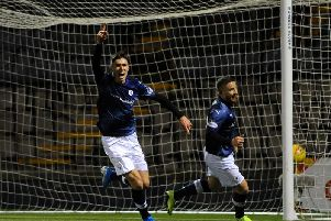Kieron Bowie celebrates after scoring his second in the victory over Elgin. Pic: Fife Photo Agency