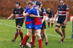 Kirkcaldy's Steve Milne is embraced by captain Josh Laird after opening the scoring. Pic: Michael Booth