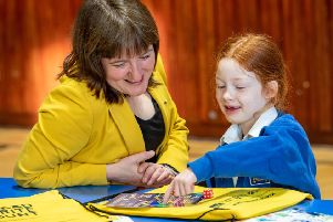 Minister for Children and Young People, Maree Todd MSP with  Iona MacLennan (6) to mark the launch of the Scottish Government's latest Parent Club campaign.;