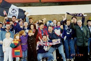 Raith fans wave their flags and scarves after winning the Coca-Cola Cup in 1994.