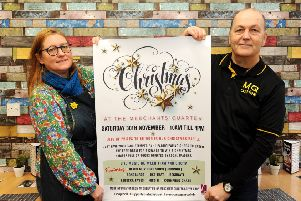 Gail Cadogan of My Cherry Pie promotes Merchants Quarter Christmas Festival  with Dean Penman of MQ Coffee Shop. Pic:  WALTER NEILSON