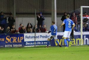 James Hilton celebrates his penalty winner against Dunfermline (pic: Bill McCandlish)
