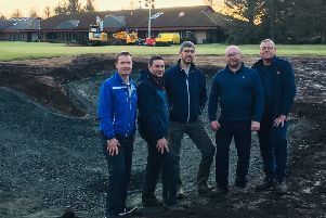 Ladybank head pro Sandy Smith, Niall Glen, golf architect, Paul Kimber, golf architect, Colin Powrie, course manager and assistant manager Mike Ewan assess progress around the 18th green.