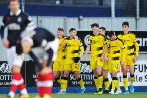 Raith Rovers celebrate Jamie Gullan's opener at the Falkirk Stadium. Pic: Michael Gillen