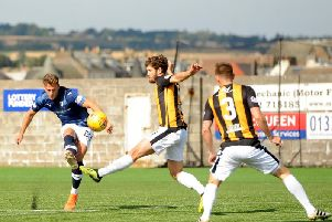 Jamie Gullan has an attempt on goal in the last Fife derby at Bayview in August, which East Fife won 4-2. Pic: Fife Photo Agency