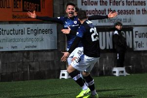 Dylan Tait celebrates after his first senior goal put Raith Rovers 4-1 up against East Fife. Pic: Fife Photo Agency