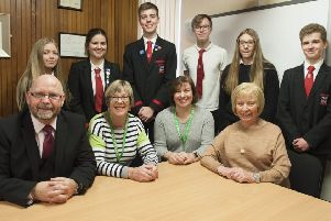 Balwearie High School pupils with representatives from Kirkcaldy Foodbank. Pic: George McLuskie.