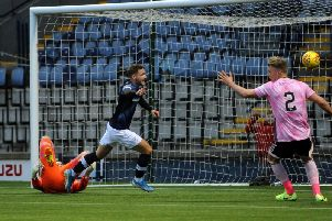 Jamie Gullan scores the Raith winner against Peterhead on Saturday. Pic: Fife Photo Agency