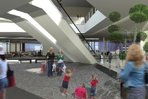 Architect image of inside the proposed expanded Mercat Shopping Centre